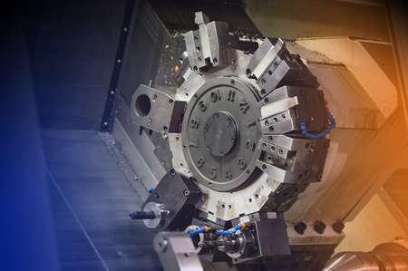 machines: Industrial lathe in a hi tech machine shop