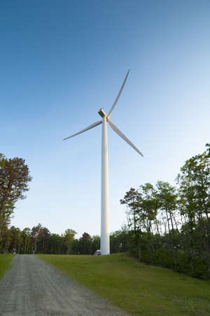 industrial park: Wind turbine located in an industrial park Stock Photo