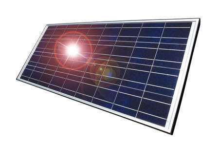 Solar panel with sun reflecting and graphic lens flare to add interest to a mundane object, isolated on white