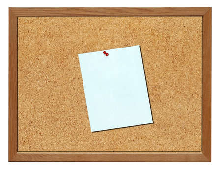 Cork board with 8 x 11 blank blue paper, isolated Stock Photo - 9898432