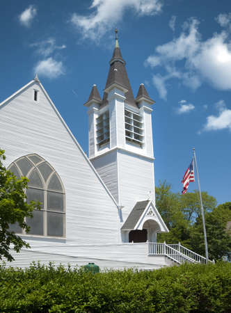 White New England church located in a small Cape Cod town photo