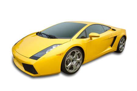 Voiture de sport en jaune d'Italie, d'isolement sur le blanc avec l'ombre et chemin de détourage