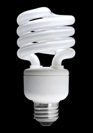 compact: Energy saving fluorescent light bulb, isolated with clipping path