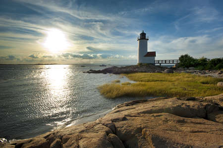 Annisquam lighthouse located near Gloucester, Massachusetts Stock Photo