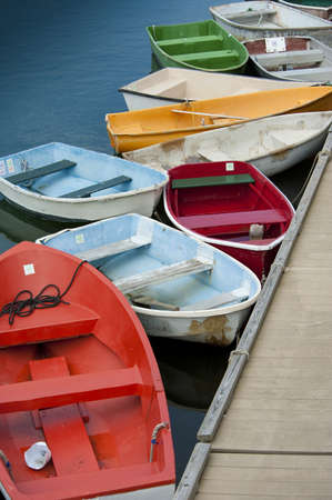 dinghies: Dinghies by wooden dock in Rockport, Massachusetts
