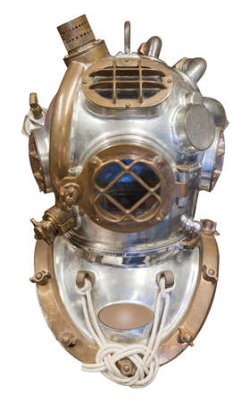 Diving helmet in brass and steDiving helmet in brass and steel for deep sea diving, isolated with clipping pathel for deep sea diving, isolated with clipping path photo