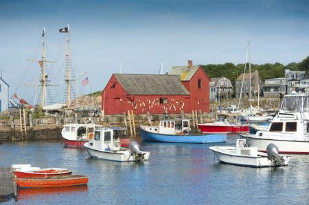 lobster boat: Motif #1, fishermans shack in Rockport harbor, massachusetts, USA