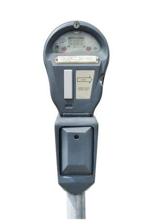 honorarios: Parqu�metro en blanco, aislado con trazado de recorte