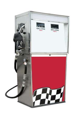 old service station: Pompa di benzina su bianco, isolato con un tracciato di ritaglio