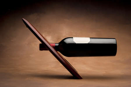 Wine bottle on modern wooden japanese stand photo