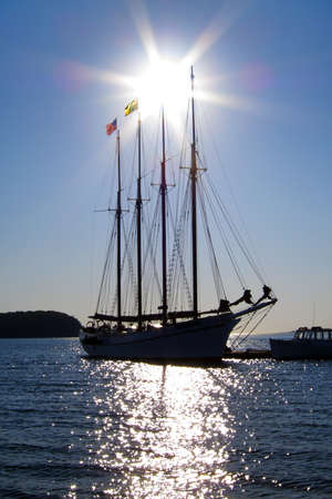 Old schooner at dock waiting to set sail in Bar Harbor, Maine, USA