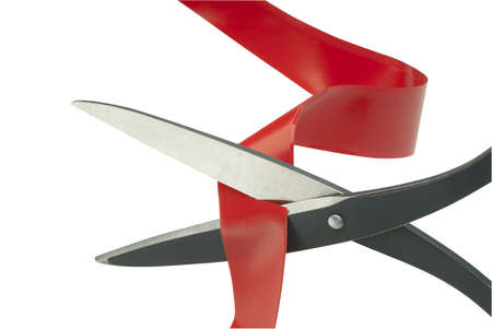 cutting through: Scissors cutting through red tape as a metaphor or concept for problem solving