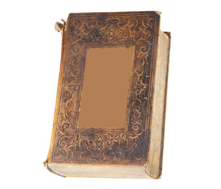 Antique book with blank rectangle for type, isolated with clipping path photo
