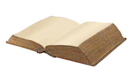 Antiguo libro de cuero abierto con dos páginas en blanco, aislados con saturación camino Foto de archivo - 11273204