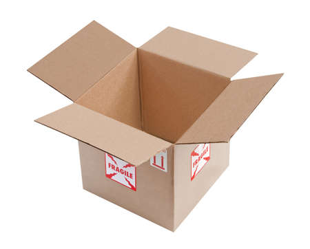 packer: Open, empty corrugated cardboard box with fragile stickers on the outside, isolated
