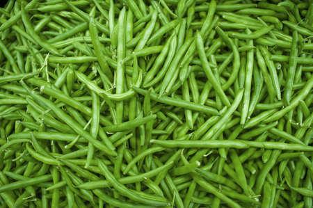 bunched: Fagiolini verdi raggruppato insieme in un mucchio