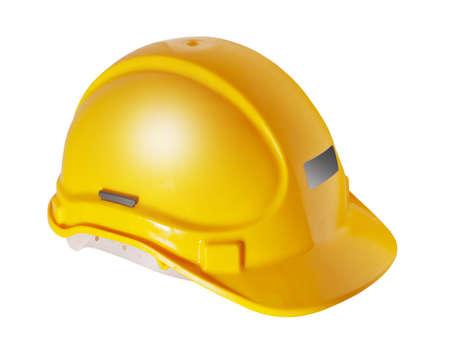 trabajando duro: Sombrero amarillo duro que se utiliza en la industria de la construcci�n, aislado Foto de archivo