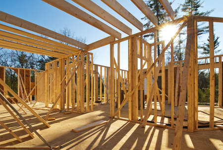 timber frame: Interior framing of a new house under construction  Stock Photo