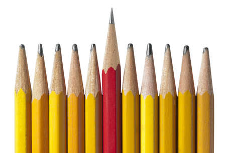 Sharpest Pencil in the Bunch: metaphor for leadership, intelligence, & individuality to teamwork and unity.  Stok Fotoğraf