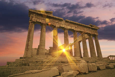 The Parthenon Greek temple at sunset on the acropolis photo