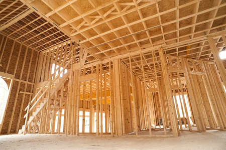 timber: Interior framing of a new house under construction Editorial