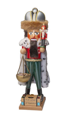 Nutcracker Christmas decoration representing the Czar of Russia, isolated photo
