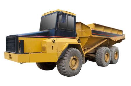 volteo: Un camión amarillo sobre el fondo blanco, aislados