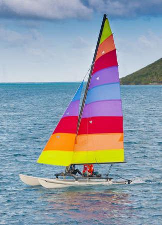 Sailing a hobie cat in the caribbean