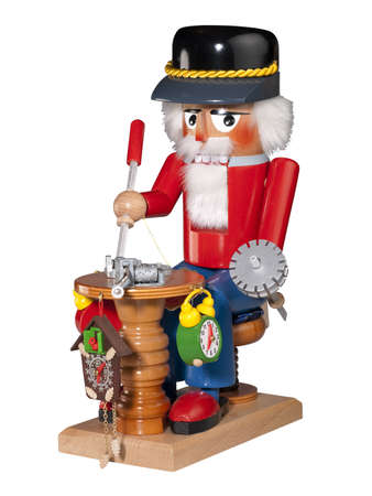 Nutcracker clock maker on white, isolated  photo