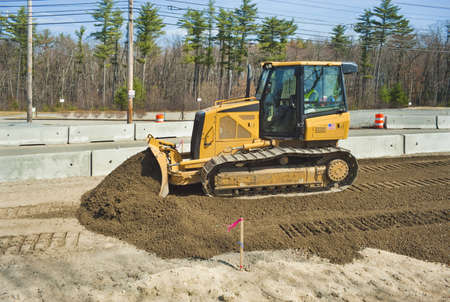 Bulldozer at work on road construction project
