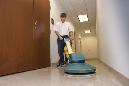 working office: cleaner polishing office hallway