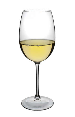 aligote: White wine glass on white, isolated Stock Photo