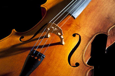 Cello or violoncello study in light and composition