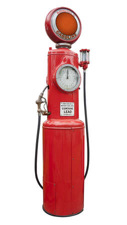 antique gas pump in red, isolated photo