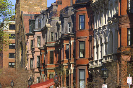 Brownstone Buildings Neighborhood in Boston, Massachusetts, USA