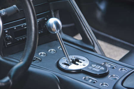 Gear shift lever in exotic Italian sportscar Stock Photo - 14713067