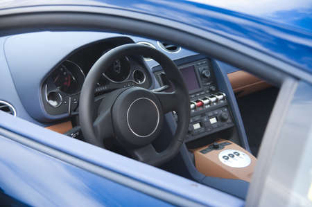 Sports car interior in blue leather Stock Photo - 14713059