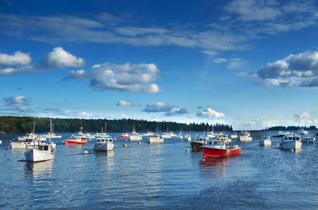 buoys: Quaint New England fishing harbor on the Maine coast Stock Photo