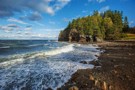 Rocky beach off the coast of Maine, USA photo