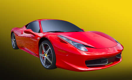 Sports car on yellow, isolated