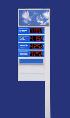 Gas price sign at highway rest stop with empty panels for advertisement, isolated photo
