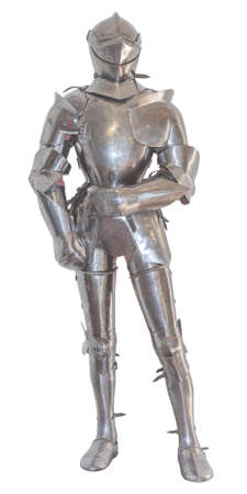 medieval knight: A vintage european full body armor suit, isolated