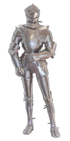 caballero medieval: Una cosecha europea de cuerpo completo traje de armadura, aislado Foto de archivo