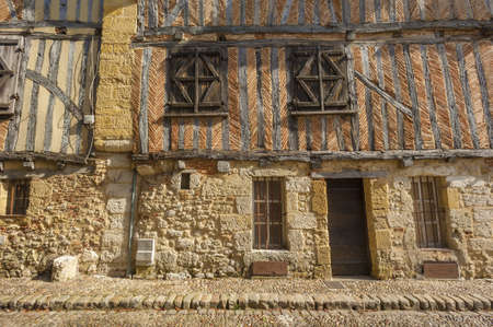 french doors: Medieval house facade in Bergerac, France