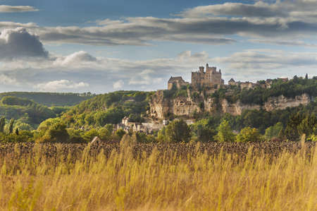 View of Castelnaud castle in the distance