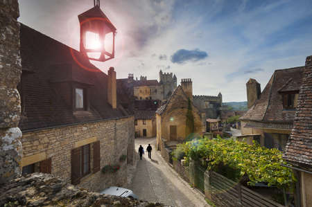 High up view of Beynac castle with lens flare Stock Photo - 16327193