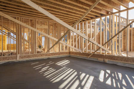 site: New house interior framing