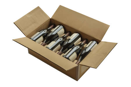Wine bottles in cardboard box, isolated Stock Photo - 16682191