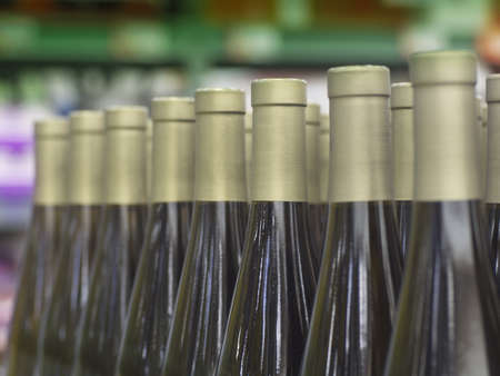 Wine bottle necks with limited depth of field Stock Photo - 16820422