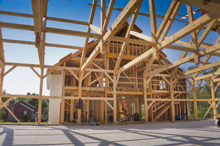 2x4 wood: New house post and beam construction Stock Photo